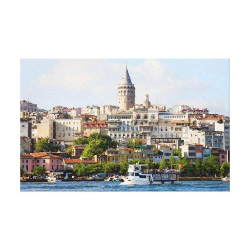 Secteur de Beyoglu et tour de Galata à Istanbul Toiles Tendues Sur Châssis