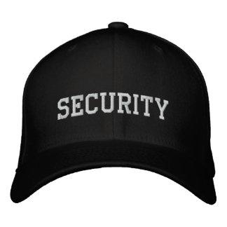 Sécurité brodée dans le blanc sur cap hat noir casquette brodée