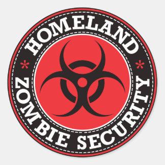 Sécurité de zombi de patrie - B rouge Sticker Rond