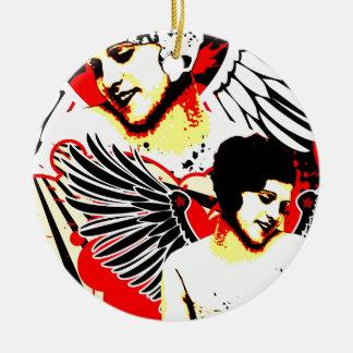 Séduction nostalgique - ange vexé ornement rond en céramique