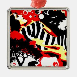Séduction nostalgique - rêves de safari ornement carré argenté