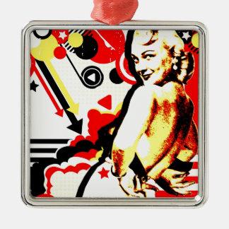 Séduction nostalgique - strip-tease ornement carré argenté
