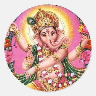 Seigneur Ganesha de danse Sticker Rond