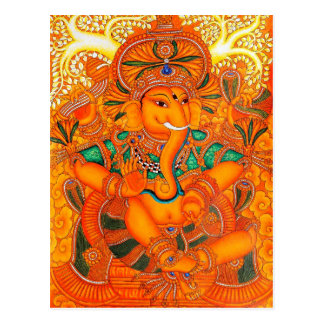 Seigneur vintage floral orange Ganesha Cartes Postales