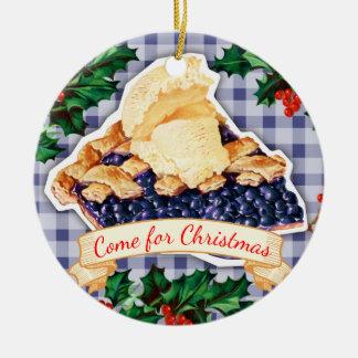 Séjour pour l'ornement de Noël de tarte de Ornement Rond En Céramique