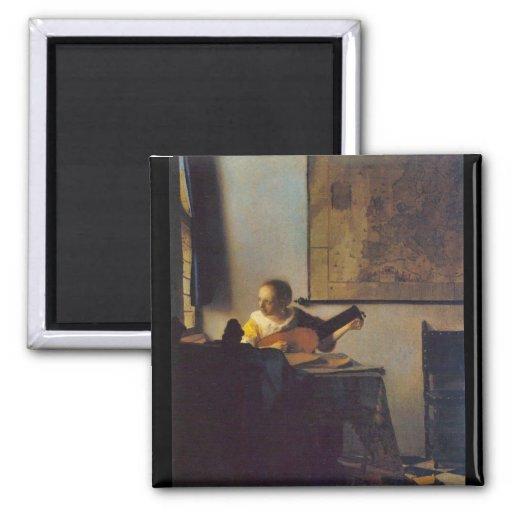 Selon le joueur par Johannes Vermeer Magnets Pour Réfrigérateur