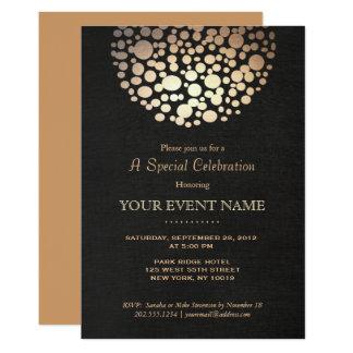 Sembler de toile d'or de cercle de noir élégant de carton d'invitation  12,7 cm x 17,78 cm