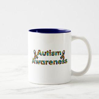 Sensibilisation sur l'autisme - double ruban mug bicolore