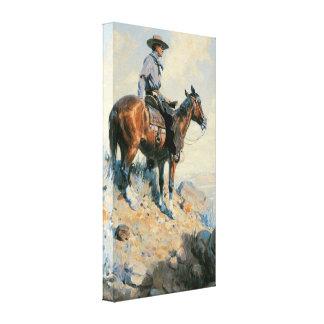 Sentinelle des plaines par Dunton, cowboy vintage Impression Sur Toile