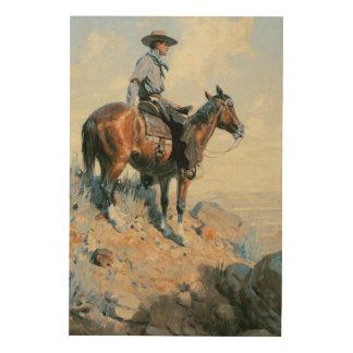 Sentinelle des plaines par Dunton cowboy vintage Impressions Sur Bois