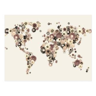 Sépia de carte du monde de fleur carte postale