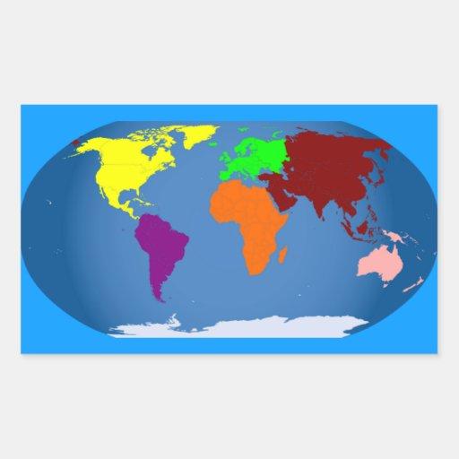 Sept continents colorés autocollants en rectangle