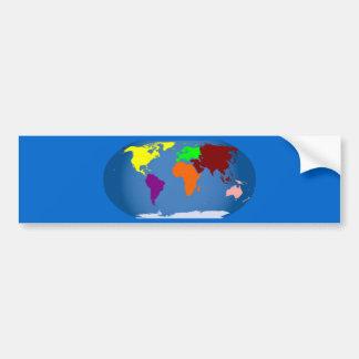Sept continents colorés autocollant pour voiture