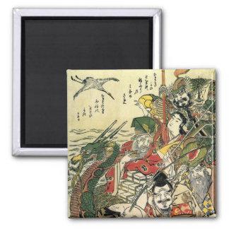 Sept dieux de beaux-arts de Hokusai de bonne Magnet Carré