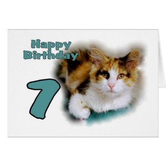 Septième carte heureuse de chat de calicot