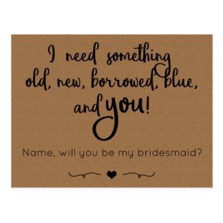 Serez-vous ma demoiselle d'honneur ? Carte postale