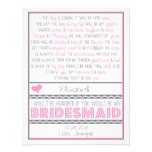 Serez-vous ma demoiselle d'honneur ? Carte rose/gr Cartons D'invitation