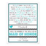 Serez-vous ma domestique d'honneur ? Turquoise/poè Cartons D'invitation Personnalisés