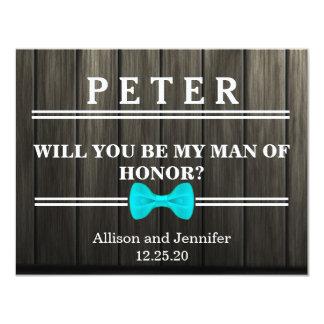Serez-vous mon homme d'honneur ? En bois Carton D'invitation 10,79 Cm X 13,97 Cm