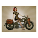 Sergent Davidson Army Motorcycle Pinup Posters