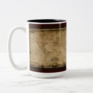 Série antique de tasse de carte du monde
