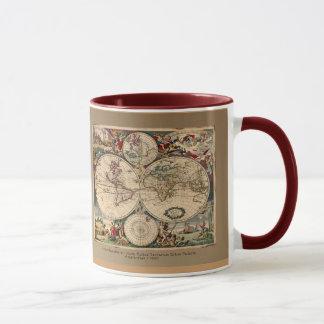 Série antique de tasse de carte du monde de