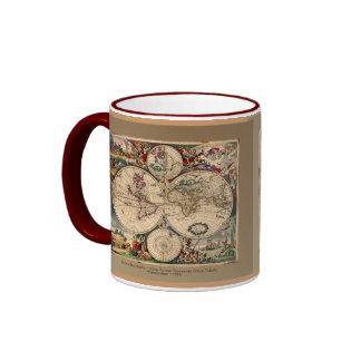 Série antique de tasse de carte du monde de Danker