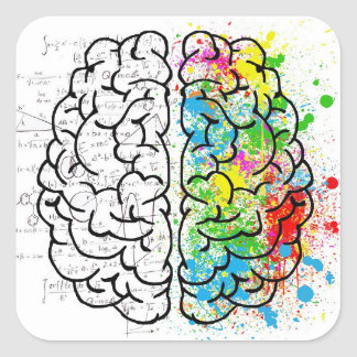 série de cerveau sticker carré