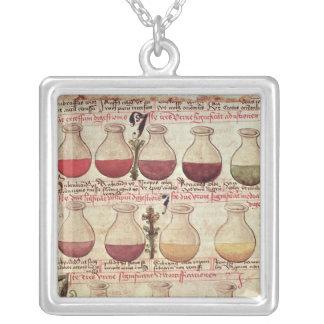 Série de cruches pour l'analyse d'urine pendentif carré
