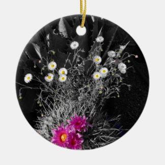 Série de fleur de cactus ornement rond en céramique