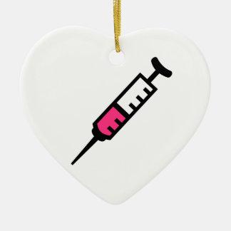 Seringue d'injection ornement cœur en céramique
