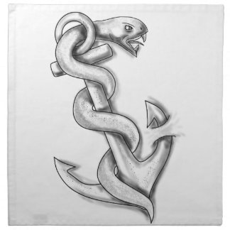 Serpent d'Asclepius se courbant sur le tatouage Serviettes Imprimées