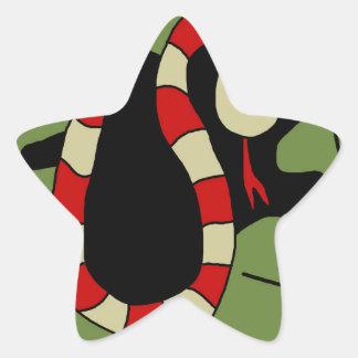 Serpent mignon rouge sticker étoile