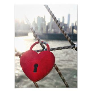 Serrure d'amour de Brooklyn Impression Photographique
