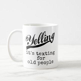Service de mini-messages pour les personnes âgées mug blanc