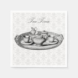 Service de thé réglé sur des mots facultatifs de serviette jetable