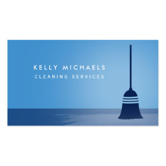 Services élégants de nettoyage de balai bleu carte de visite standard