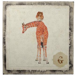 Serviette ambre de girafe et de hibou