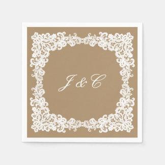 Serviette brune et blanche de toile de jute de serviette en papier