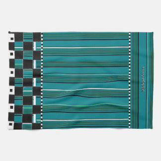Serviette Checkered #2 de rayure de turquoise