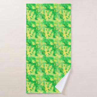 Serviette de Bath d'aquarelle de vert jaune