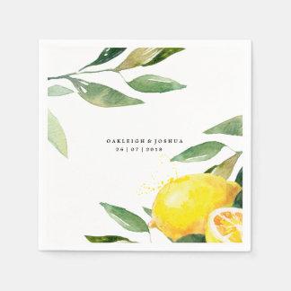 Serviette de Bohème de mariage de citron Serviettes En Papier