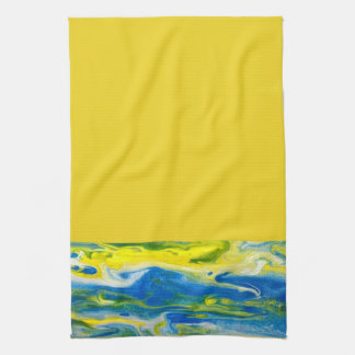 Serviette de cuisine abstraite de bleu et de jaune