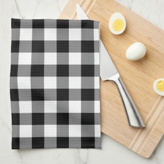 Serviette de cuisine blanche noire de motif de serviettes pour les mains