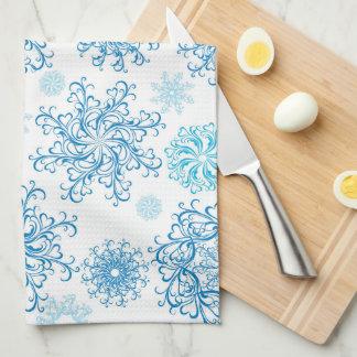 Serviette de cuisine bleue de flocon de neige de serviettes éponge