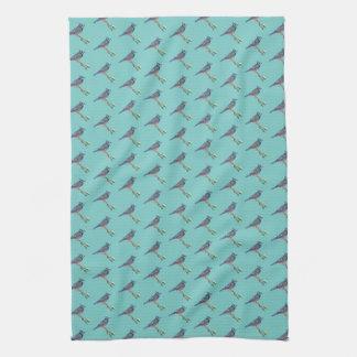 Serviette de cuisine brodée de geai bleu serviette éponge