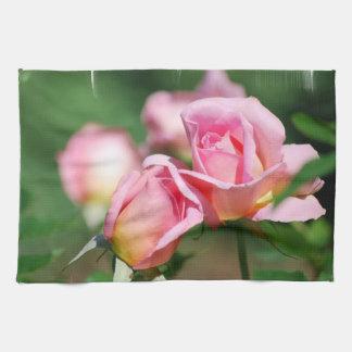 Serviette de cuisine de bourgeon de rose de rose serviettes éponge