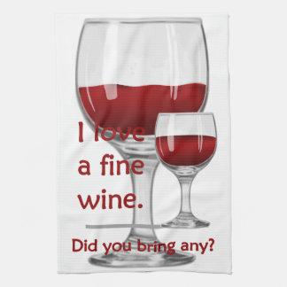 Serviette de cuisine drôle de vin fin