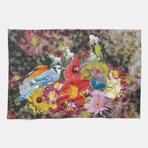 serviette de cuisine du mélange 2 d'oiseau/fleur serviette pour les mains