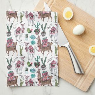 Serviette de cuisine du motif | de cactus de lamas